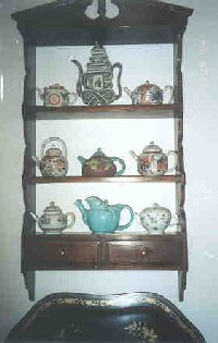 Teapot collection in museum.